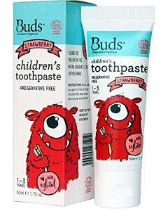 Buds Oralcare Organics: Children's Toothpaste Strawberry with Xylitol - 50ml (1 - 3 years) - 15% OFF!