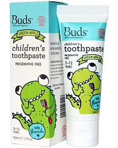 Buds Oralcare Organics: Children's Toothpaste Green Apple With Fluoride - 50ml (3 - 12 Years) - 15% OFF!!