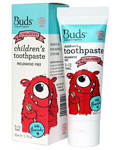 Buds Oralcare Organics: Children's Toothpaste Strawberry with Fluoride - 50ml (3 - 12 years) - 15% OFF!!