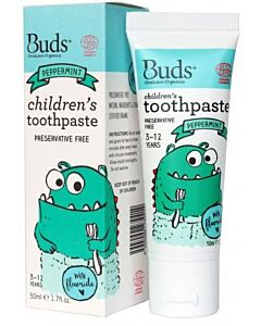Buds Oralcare Organics: Children's Toothpaste Peppermint with Fluoride - 50ml (3 - 12 years) - 15% OFF!!
