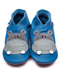 Inch Blue: Soft Sole Leather Shoes - Hippo Blue/Grey - Large (12-18 months)