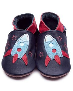 Inch Blue: Soft Sole Leather Shoes - Zoom Navy - Small (0-6 months)