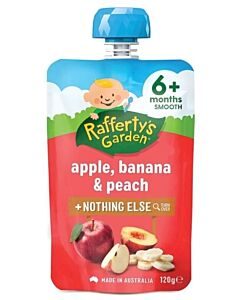 Rafferty's Garden: Apple, Banana & Peach 120g (6+ Months) - 23% OFF!!