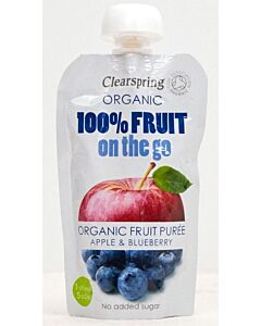 Clearspring Organic Fruit On The Go: Organic Fruit Puree Apple & Blueberry 120g - 10% OFF!!