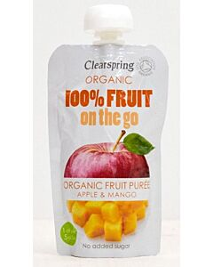 Clearspring Organic Fruit On The Go: Organic Fruit Puree Apple & Mango 120g - 10% OFF!!