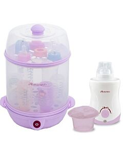 Autumnz - 2 in 1 Steriliser & Food Steamer + Home & Car Warmer Combo (Lilac) + FREE! Descaler (cleaner)