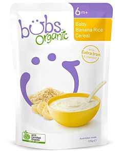 Bubs Organic Baby Banana Rice Cereal 125gm (6+ Months) - 13% OFF!!