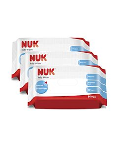 NUK - Baby Wipes *PARABEN FREE* 80pcs x 3packs - 20% OFF!