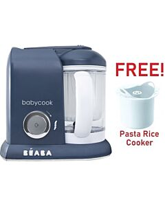 Beaba: Babycook Solo - Navy Blue (Limited Edition) + FOC Pasta Rice Cooker