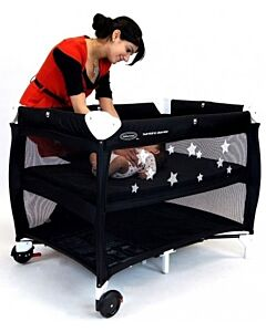 Babyhood: Bambino Dormire Portacot (Black and White) - 27% OFF!! (Plus FREE Change Table + Toybar + Portacot Canopy net)