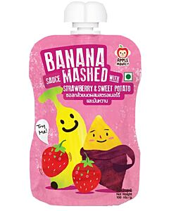 Apple Monkey: Banana Sauce Mashed with Strawberry & Sweet Potato 100g - 11% OFF!!