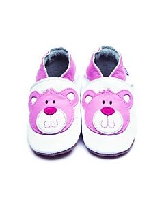 Inch Blue: Soft Sole Leather Shoes - Bear White/Pink - Small (0-6 months)