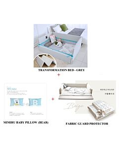 GGUMBI: 3 in 1 Transformation Bed - World Star (Grey) + Fabric Guard Protector (Beige) + MIMIRU Baby Pillow (Bear) - 24% OFF!!