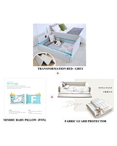 GGUMBI: 3 in 1 Transformation Bed - World Star (Grey) + Fabric Guard Protector (Beige) + MIMIRU Baby Pillow (Fox) - 39% OFF!!