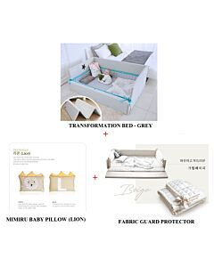 GGUMBI: 3 in 1 Transformation Bed - World Star (Grey) + Fabric Guard Protector (Beige) + MIMIRU Baby Pillow (Lion) - 39% OFF!!