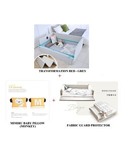 GGUMBI: 3 in 1 Transformation Bed - World Star (Grey) + Fabric Guard Protector (Beige) + MIMIRU Baby Pillow (Monkey) - 39% OFF!!