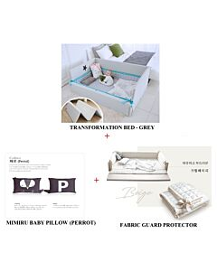 GGUMBI: 3 in 1 Transformation Bed - World Star (Grey) + Fabric Guard Protector (Beige) + MIMIRU Baby Pillow (Perrot) - 24% OFF!!
