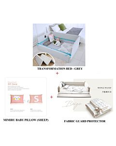 GGUMBI: 3 in 1 Transformation Bed - World Star (Grey) + Fabric Guard Protector (Beige) + MIMIRU Baby Pillow (Sheep) - 39% OFF!!