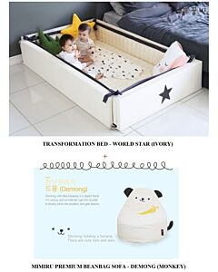 GGUMBI: 3 in 1 Transformation Bed - World Star (Ivory) + MIMIRU Premium Beanbag Sofa (Monkey - Demong) - 15% OFF!!