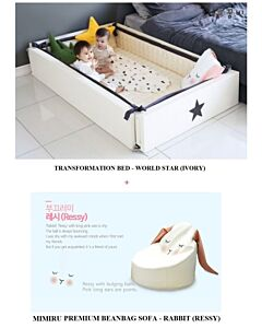 GGUMBI: 3 in 1 Transformation Bed - World Star (Ivory) + MIMIRU Premium Beanbag Sofa (Rabbit - Ressy) - 15% OFF!!