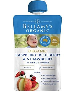 Bellamy's: Organic Exotic Fruits Raspberry/Blueberry & Strawberry In Apple Puree 120g (Ready to serve)