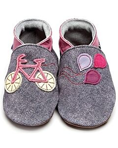 Inch Blue: Soft Sole Leather Shoes - Bike Denim Rose Pink - Medium (6-12 months)