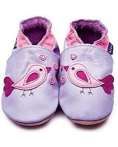 Inch Blue: Soft Sole Leather Shoes - Bird D'Amour Lilac - Medium (6-12 months)