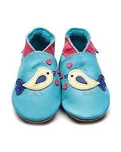Inch Blue: Soft Sole Leather Shoes - Bird D'Amour Turquoise - Extra Large (18-24 months)