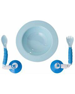 Ezee Reach Stay Put Cutlery + Bowl (Blue) - 23% OFF!!
