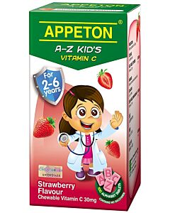 Appeton A-Z Vitamin-C (Strawberry) Tablets 100's (For 2-6 years old) - 25% OFF!!