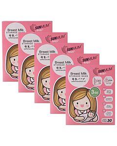 SUNMUM: Breastmilk Storage Bag (30 bags) 3oz/100ml *5 PACK* - 16% OFF!!