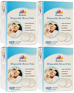 Bubbles: Disposable Breast Pads (Honeycomb NEW) (60pcs + FREE 12pcs) x 4 PACKS - 35% OFF!!