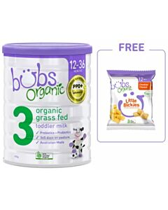 Bubs Organic Grass Fed Toddler Milk *Stage 3* (12-36 Months) 800gm + FREE Bubs Organic Little Bickies Cheddar Cheese 30g