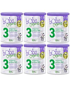 Bubs Organic Grass Fed Toddler Milk *Stage 3* (12-36 mths) 800gm  [6 TINS BUNDLE] + FREE 6 PACKS Bubs Organic food worth RM65