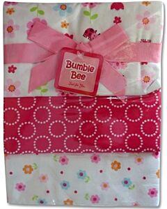 Bumble Bee: 3pcs Receiving Blanket (Pink Flower) - 30% OFF!!