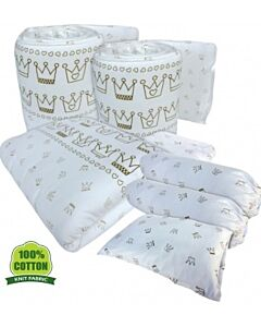 Bumble Bee: 7pcs Crib Bedding Set (Knit Fabric) - King of Hearts - 37% OFF!