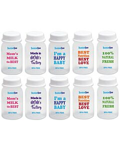 Bumble Bee: Breastmilk Storage Bottles - 10pcs (With Unique Messages) - 40% OFF!!