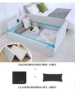 GGUMBI: 3 in 1 Transformation Bed - World Star (Grey) + 3 Layers Muslin Bedding Set (Grey) - 19% OFF!!