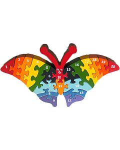 Artiwood: Wooden Puzzle - Butterfly with 1 to 20 numbers