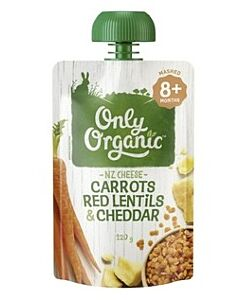 Only Organic: Carrot Red Lentil & Cheddar 120g (8+ Months) - 10%