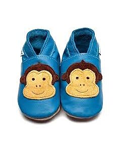 Inch Blue: Soft Sole Leather Shoes - Cheeky Monkey Blue - Medium (6-12 months)