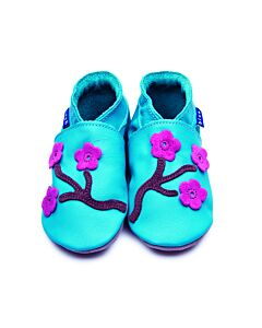 Inch Blue: Soft Sole Leather Shoes - Cherry Blossom Turquoise - Extra Large (18-24 months)