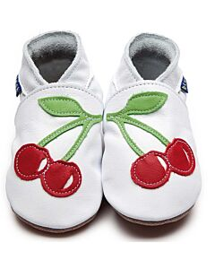 Inch Blue: Soft Sole Leather Shoes - Cherry White/Red - Large (12-18 months)