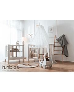 Funbies: Clover Series (Clover Baby Cot + Clover Changing Table + Mattress + Mosquito Net) - White - 5% OFF!!