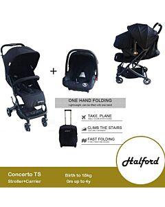 [PRE-ORDER] Halford: Concerto Travel System Stroller (Black) (Birth to 18kg)