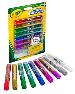 Crayola Washable Glitter Glue For Kids Dazzling and Sparking Colors Easy Clean Up 9 Count- 20% OFF!!