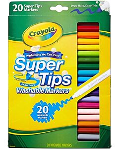 Crayola 20 Colour Super Tips Washable Markers - 20% OFF!!