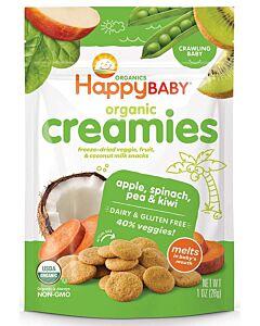 Happy Baby Organic Creamies (Freeze-Dried Veggie, Fruit & Coconut Milk Snacks) - Apple, Spinach, Pea & Kiwi 28g - 16% OFF!!
