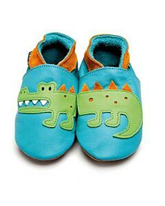 Inch Blue: Soft Sole Leather Shoes - Crocodile Turquoise/Tangerine - Large (12-18 months)