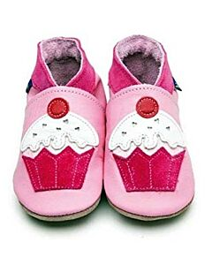 Inch Blue: Soft Sole Leather Shoes - Cupcake Pink - Medium (6-12 months)